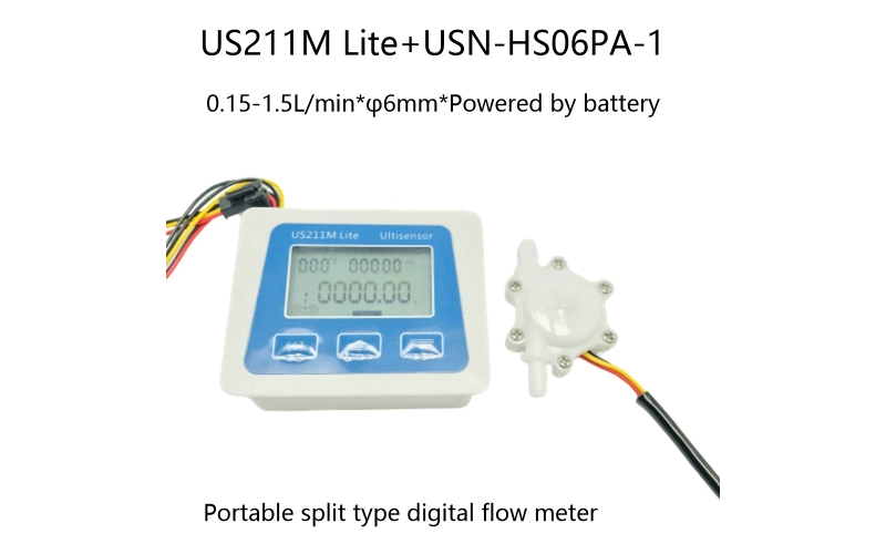 US211M Lite Portable Digital Flow Meter with USN-HS06PA-1 Flow Sensor 0.15-1.5L/min