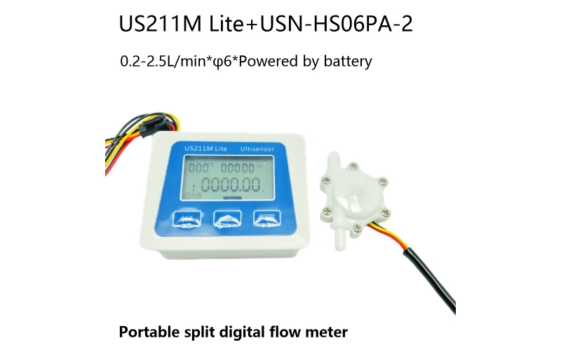 US211M Lite Portable Digital Flow Meter with USN-HS06PA-2 Flow Sensor 0.2-2.5L/min