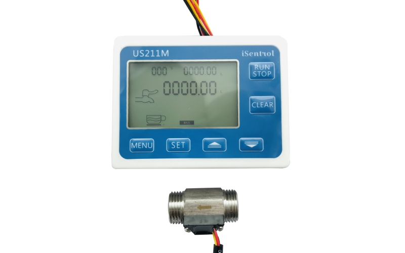 US211M Digital Flow Meter Dosage Controller with USS-HS21TI Stianless Steel Flow Sensor G1/2
